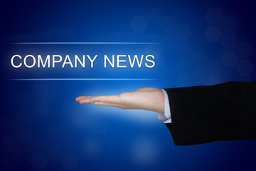 company news button on blue background