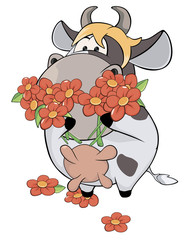 A small cow and flowers cartoon