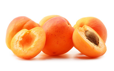Composition with fresh ripe apricots isolated on white