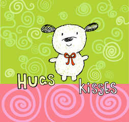 Hugs and kisses greeting card with cute puppy