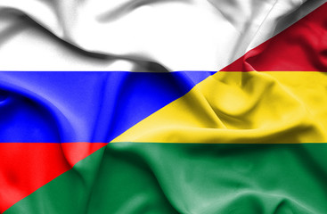 Waving flag of Bolivia and Russia