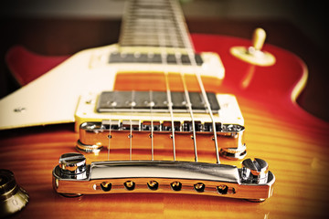 electric guitar bridge in vintage effect