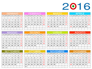 Calendario 2016 Italia