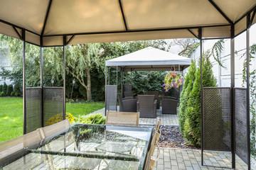Modern patio in hotel's garden