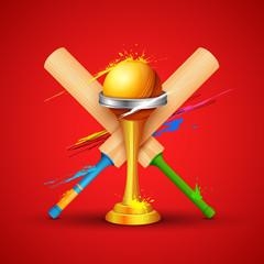 Golden trophy with cricket bat