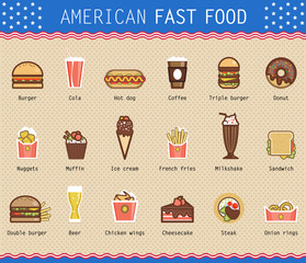 Vector illustration of various unhealthy american food items