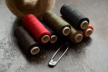 Thread, twine and Safety pin. Sewing set
