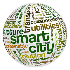 Word cloud related to smart digital city, infrastructure, ICT