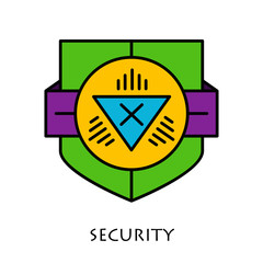 Simple shields badges design. Logo template. Vector icons set.