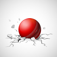 Cricket ball falling on ground making crack