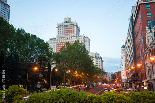 Night city view traffic with Edificio Espana on background in Ma - 77818406