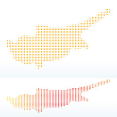 Map of Republic of Cyprus with with Dot Pattern