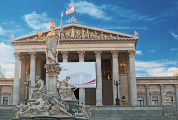 Pallas Athena fountain and Austrian Parliament in Vienna