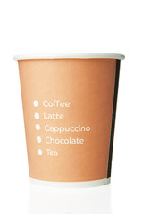 Paper disposable cup with inscriptions