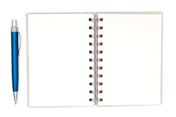 Paper notebook and pen on white background
