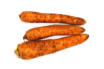 Heap of ripe carrots on white background