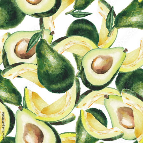 watercolor avocado pattern © lenavetka87