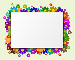 White rectangle with flowers in the background