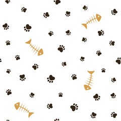 Cat theme seamless pattern with paw footprints and fish bones