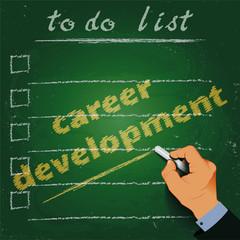 To do list career development chalk on a blackboard 3d hand