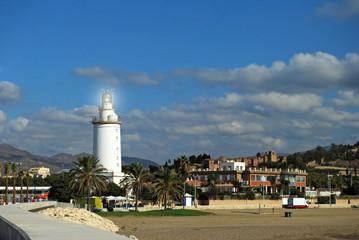 La Farola, faro, playa, Malagueta, paisaje, Málaga, Andalucía