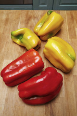 Italy, red and yellow sicilian peppers