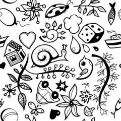 Childish hand-drawn seamless pattern