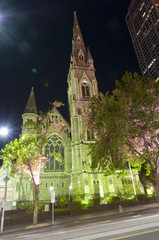 Scots Church in Melbourne at night time Victoria, Australia