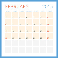Calendar 2015. February. Week starts Sunday