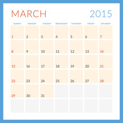Calendar 2015. March. Week starts Sunday