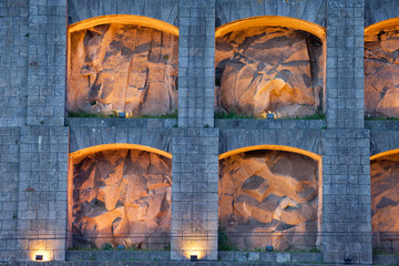 Lit up Niches of Serra do Pilar Monastery in Portugal