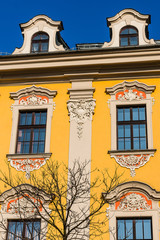 Facade of a tenement in the Old Town in Krakow