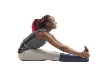 Young african woman doing a stretching exercise