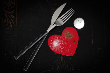 Salt and Pepper Heart and Cutlery
