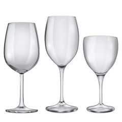 Empty glass goblets for wine