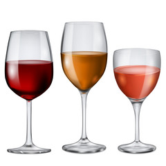 Glass goblets with wine