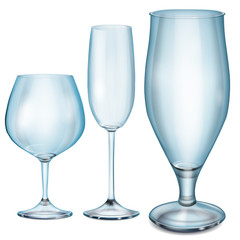 Transparent blue empty glass goblets for cognac, champagne and b