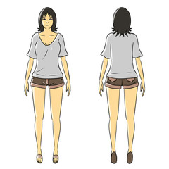 cartoon woman isolate stand casual wear