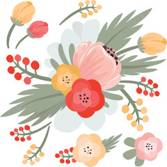 Vector illustration of beautiful flowers. EPS. Editable.