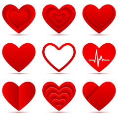 1. Set of different red heart shapes