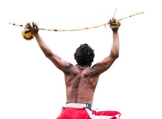 Brazilian performing Capoeira with Berimbau Instrument isolated