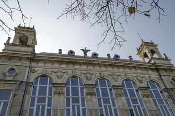 Ancient building with rich decoration in center of Ruse town