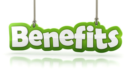 Benefits green word text isolated on white background