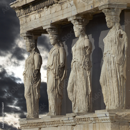 Staande foto Athene Caryatids, erechtheum temple on Acropolis of Athens, Greece