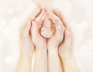 Family Hands and Baby New Born Arm, Mother Father Children Body