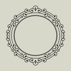 Vector geometric frame in trendy mono line style.