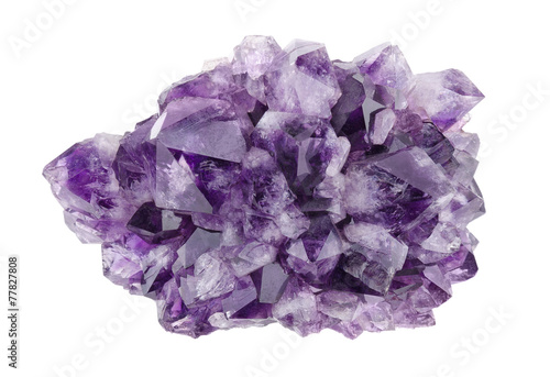 Poster Edelsteen Amethyst Directly Above Over White Background