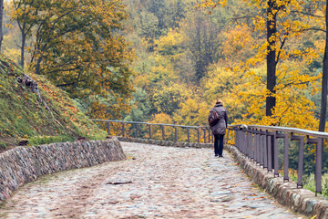 Girl climbs up the hill in the park in autumn