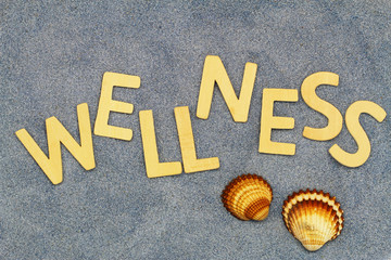 Wellness written with wooden letters on blue sand