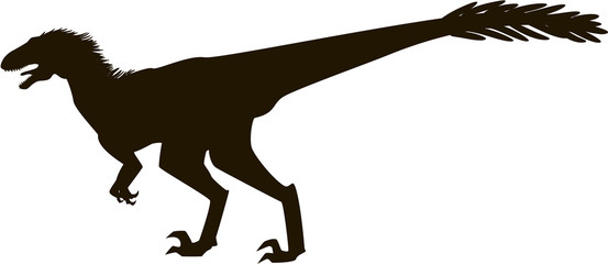 Velociraptor with feathers silhouette
